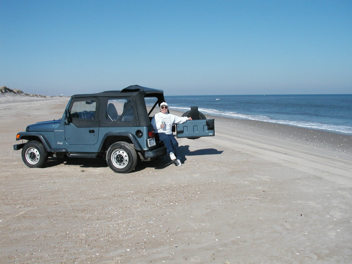 Driving on the beach near Oregon Inlet,  Cape Hatteras National Seashore, NC Outer Banks
