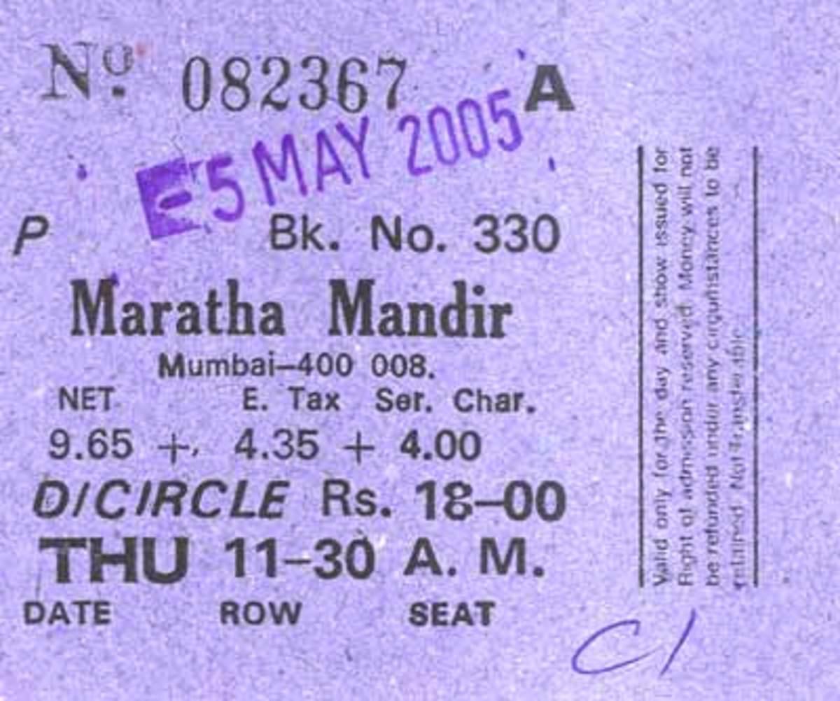 Maratha Mandir Film Ticket