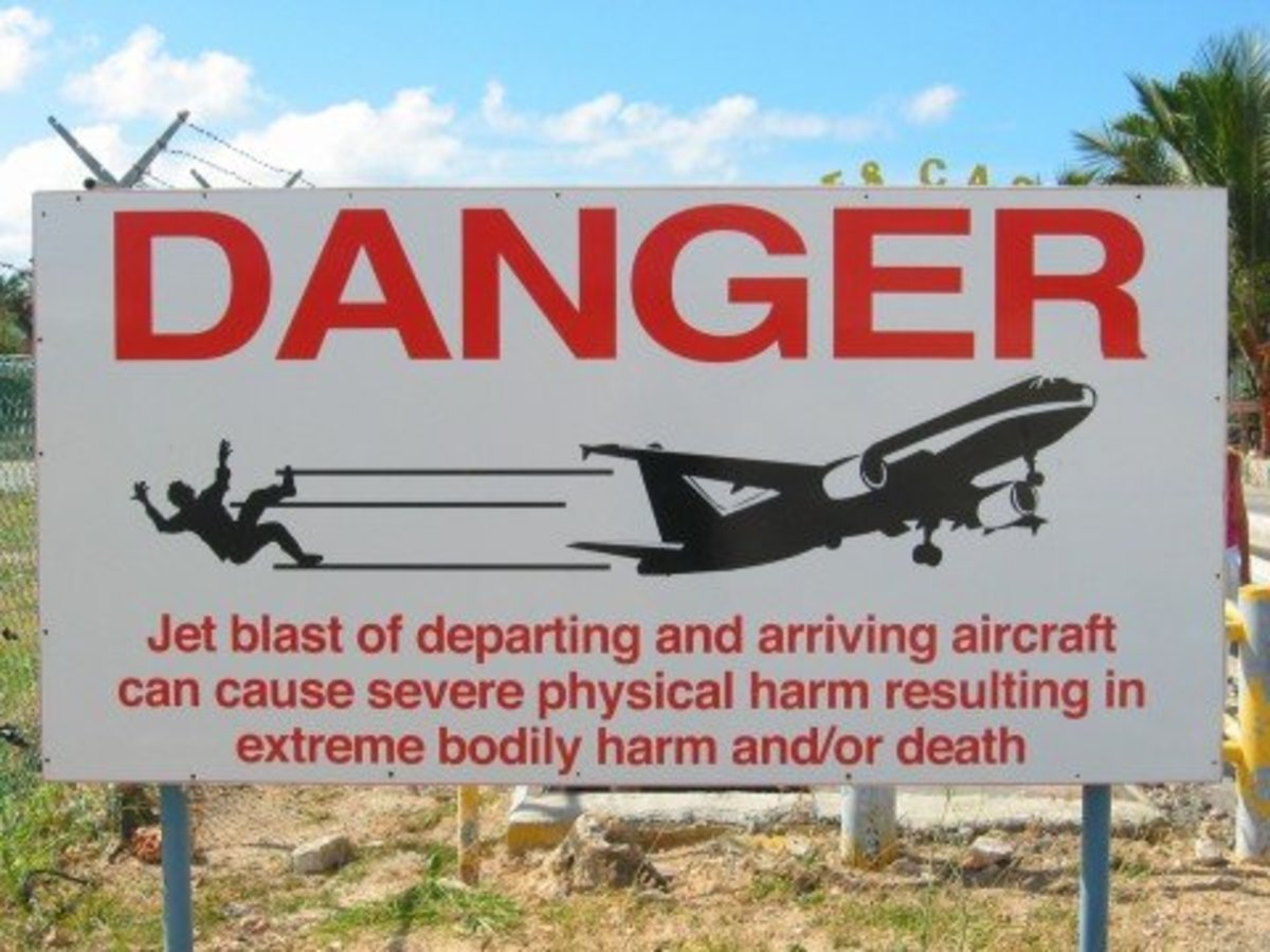 A sign posted at Princess Juliana International Airport warning tourists of jet blasts.
