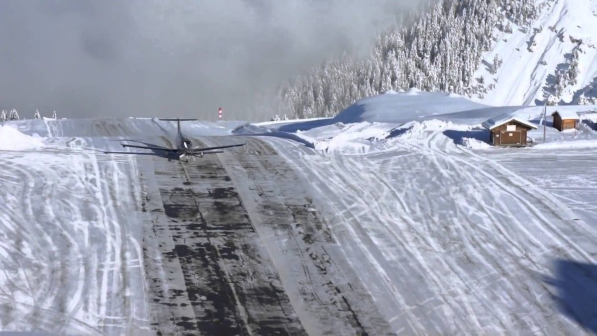 "Courchevel Airport in the French Alps - he airplane scene featured before the credits in the film ""GoldenEye"" was filmed at Courchevel"