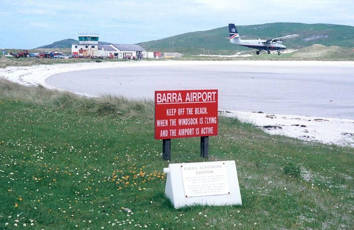 The hard sand beach on the island of Barra makes for the perfect runway