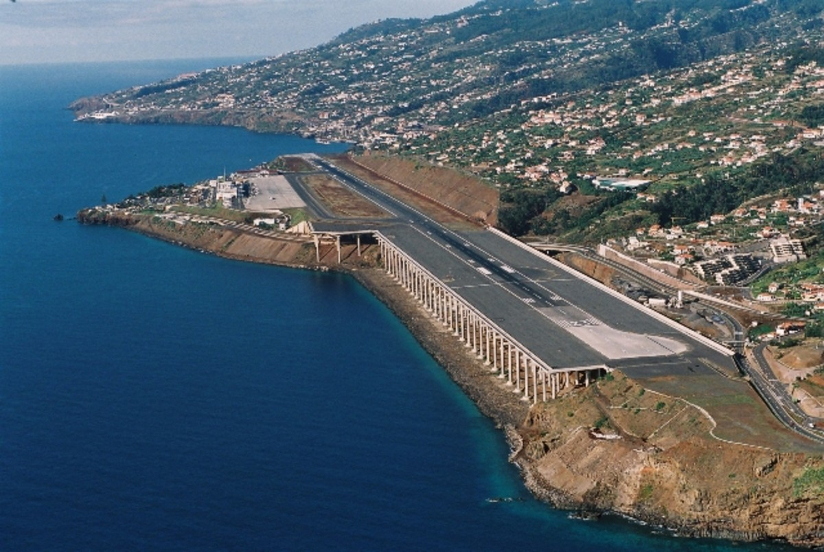 A view of Madeira Airport and its columns