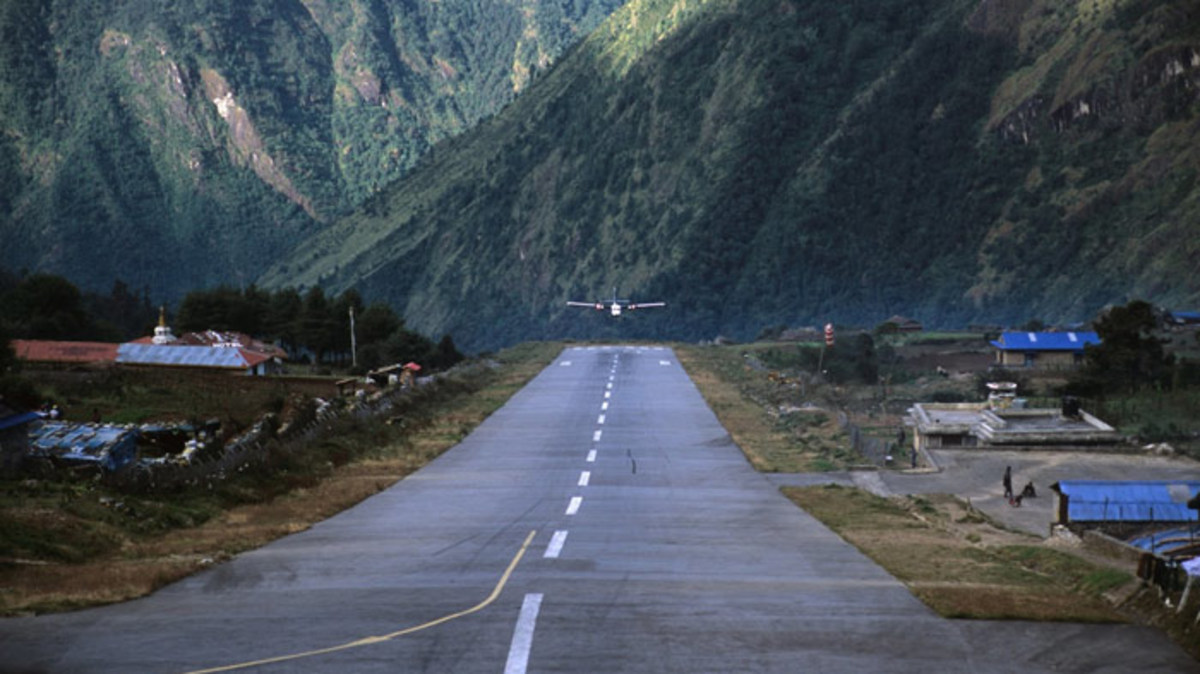 The runway at Lukla airport has a gradient of 12 percent and when planes take off, they plunge downhill off a 2,000-foot cliff!
