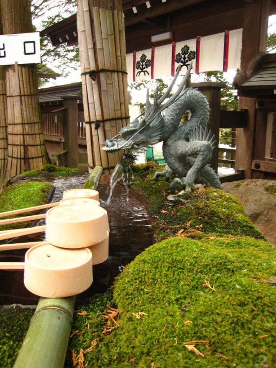A Temizuya at a Shrine in Nagano, Japan