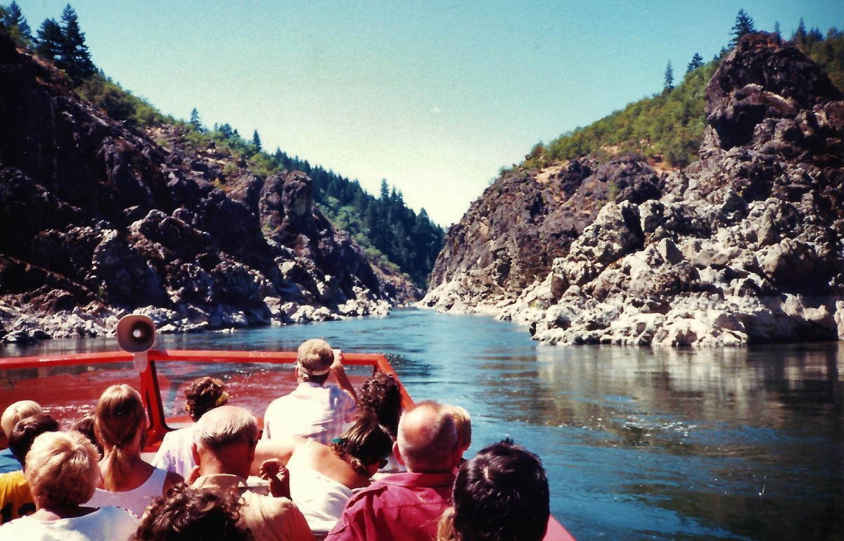 Our jet boat approaching Hellgate Canyon  on the Rogue River in Oregon