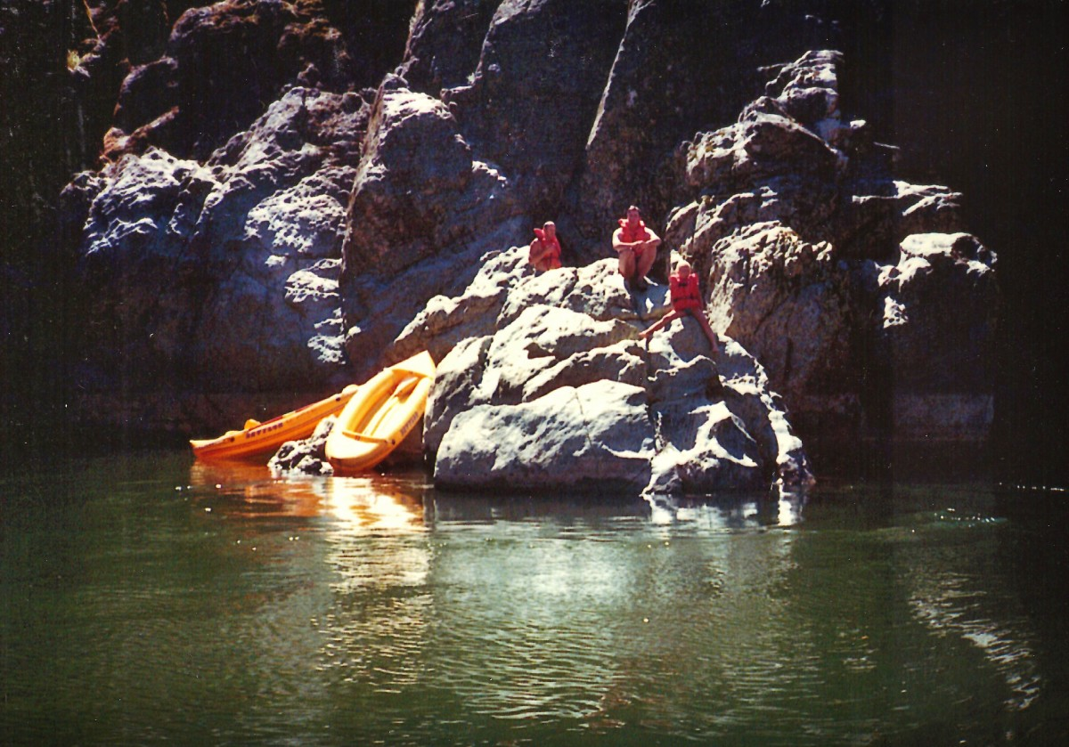 Some people were taking a break from rafting.