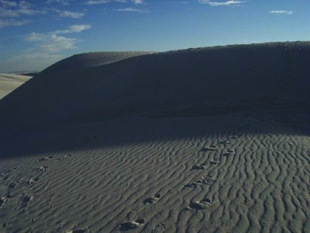 If you visit White Sands in New Mexico, you'll see that the name is accurate. You'll also see signs for Truth or Consequences and Elephant Butte up Highway 85.