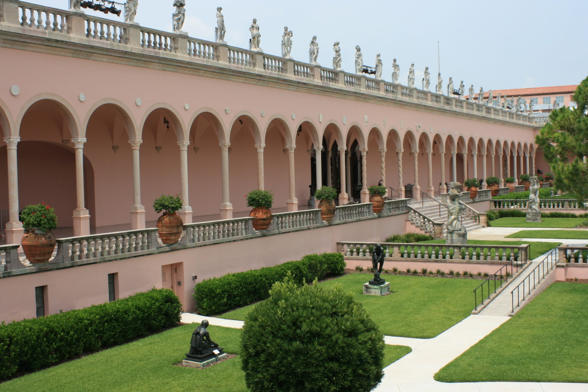 The inner courtyard and portico of The Ringling Museum of Art.