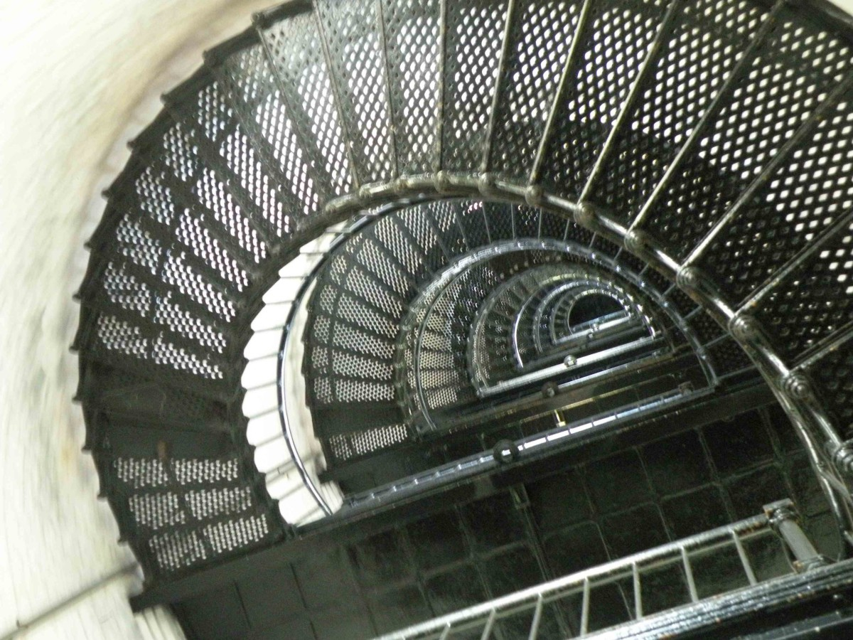 Looking up Bodie Island Lighthouse stairway.
