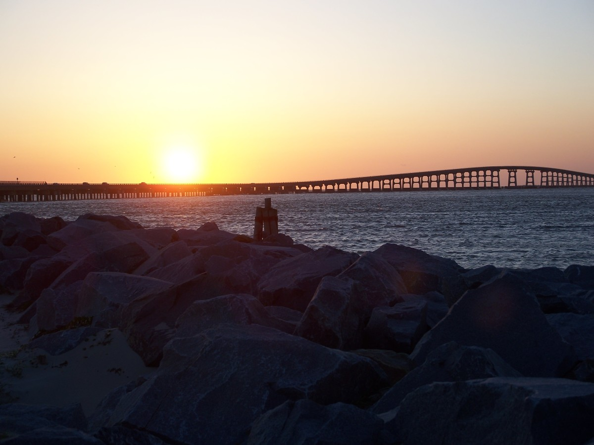 Bonner Bridge at Sunset.  Oregon Inlet on the Outer Banks.