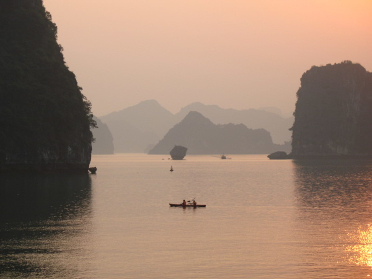 Aerial View of Halong Bay at sunset (Vietnam).