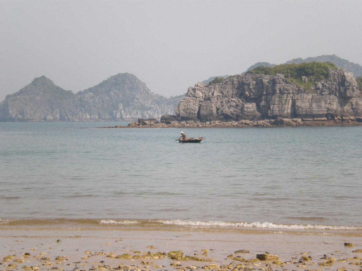 Cat Ba's Long Beaches. UNESCO World Heritage Site of Halong Bay in Vietnam.