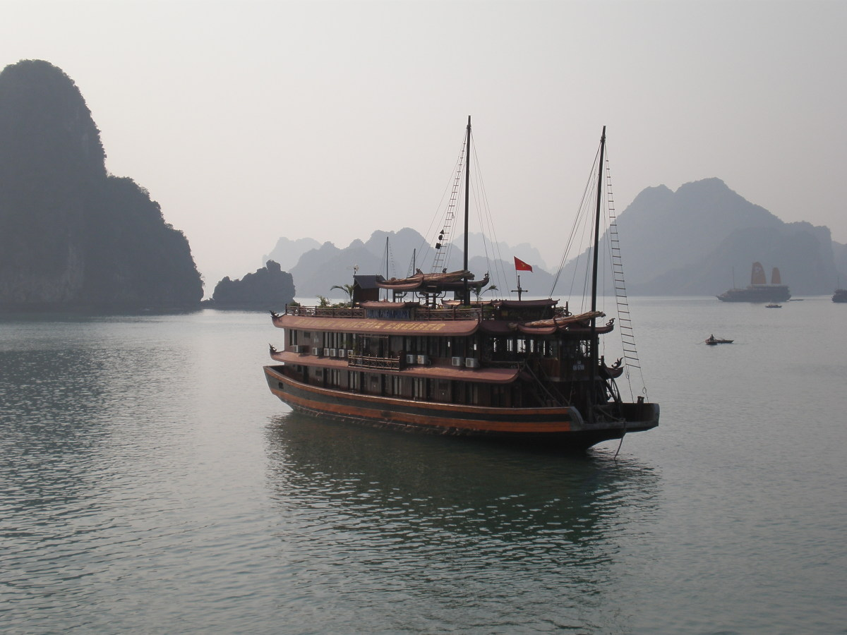 Wooden Old Style Boat at Halong Bay, Vietnam.