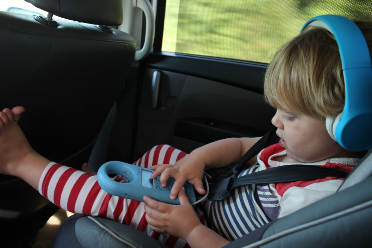 Electronics should be your back-up plan for long road trips with toddlers. Many babies will not tolerate headphones, but some wear them happily!