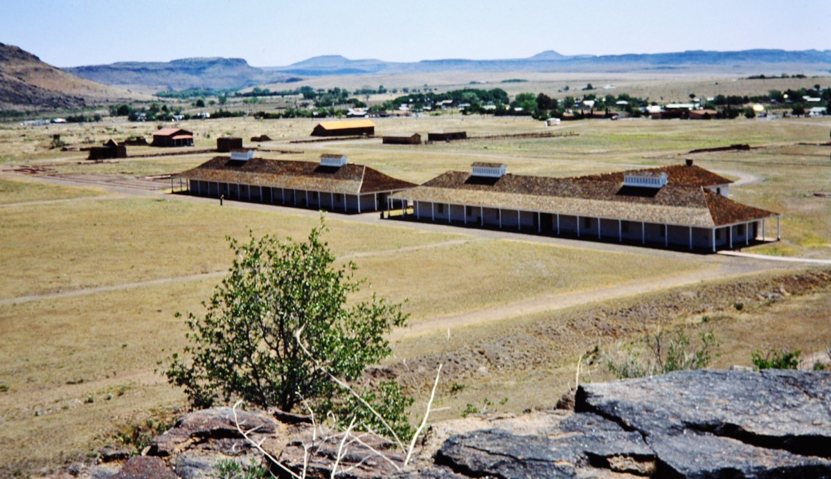 Fort Davis soldier's barracks as viewed from above on a nature trail.