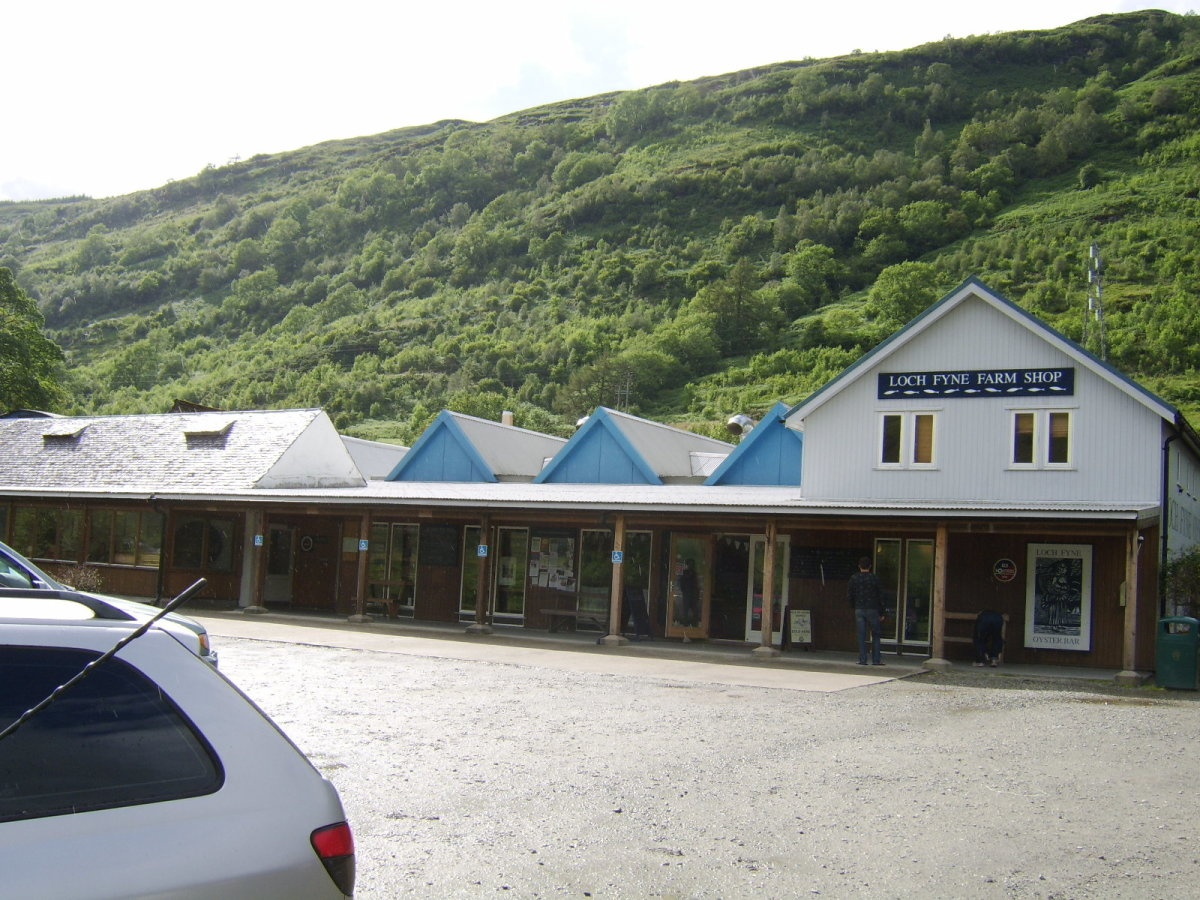 The Loch Fyne Oyster Bar sits right at the head of Loch Fyne. It incorporates both a farm shop and a restaurant.