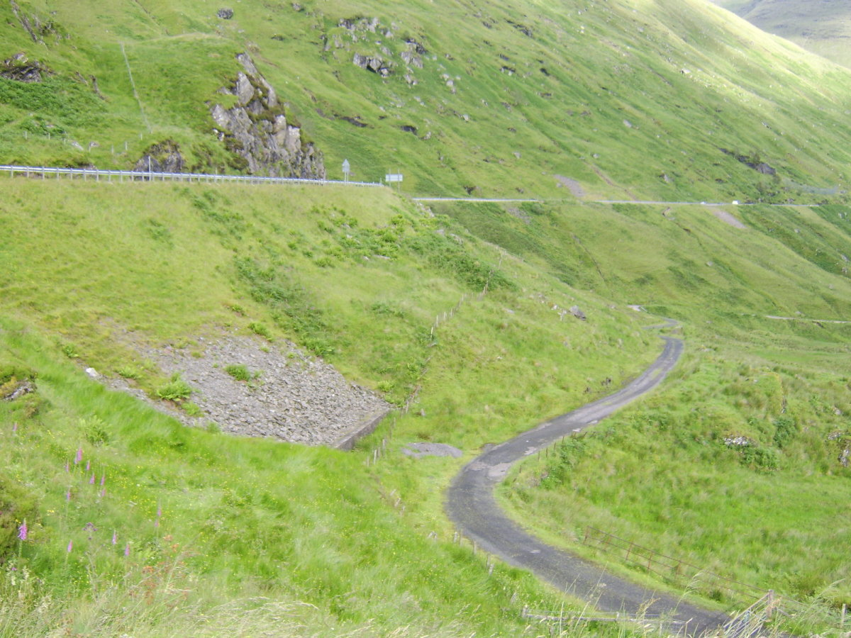 The modern day A83 replaced the old road through Glen Croe (both seen in picture)