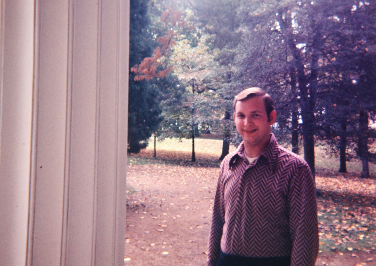 "My hubby at the Hermitage when he was a ""wee bit younger.""  :)"