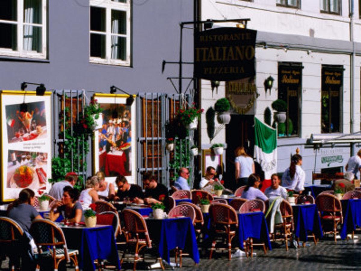 an outdoor eating restaurant in Stroget, Denmark.