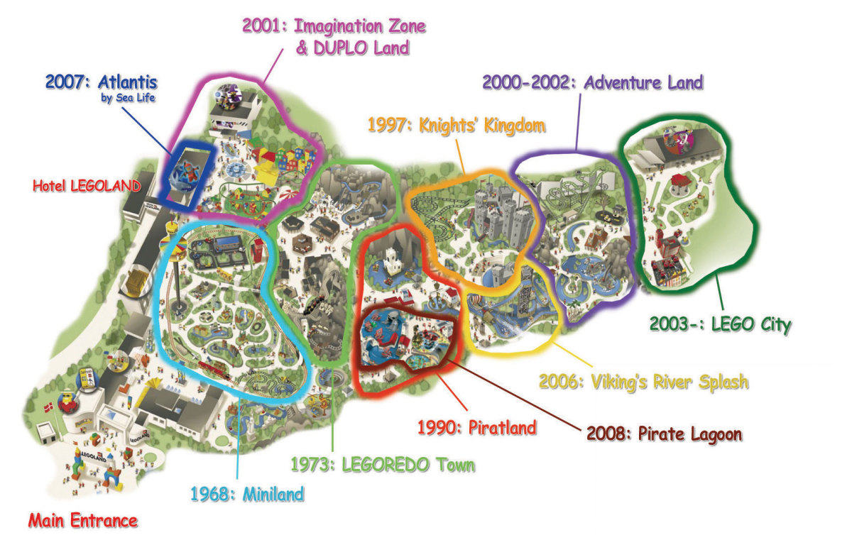 A map of the theme park, Legoland in Billund, Denmark. It shows the different places the park has and when each place was built.