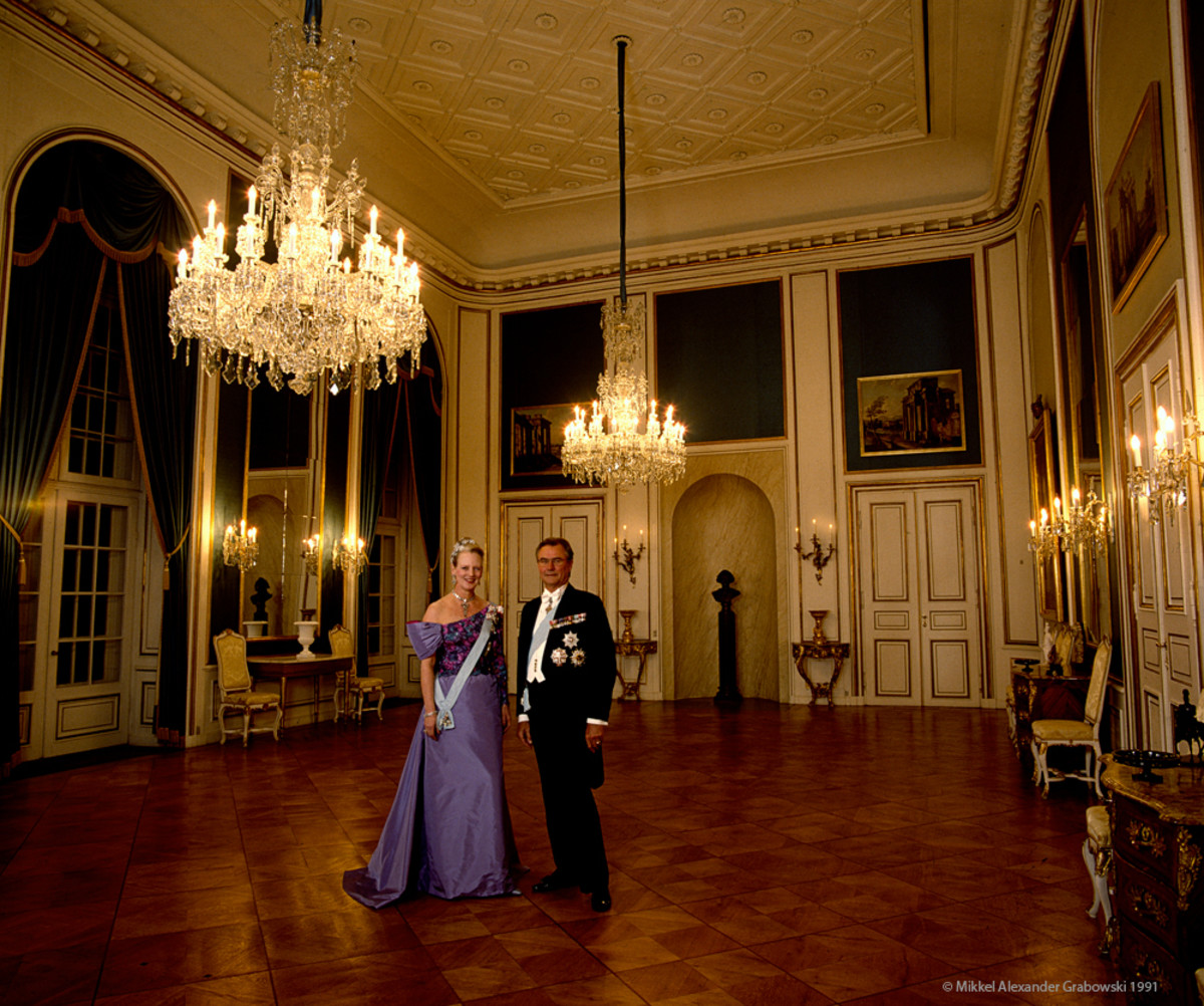 Queen Margrethe II and Prince Henrik of Denmark at the Amalienborg castle the home of the royal family.