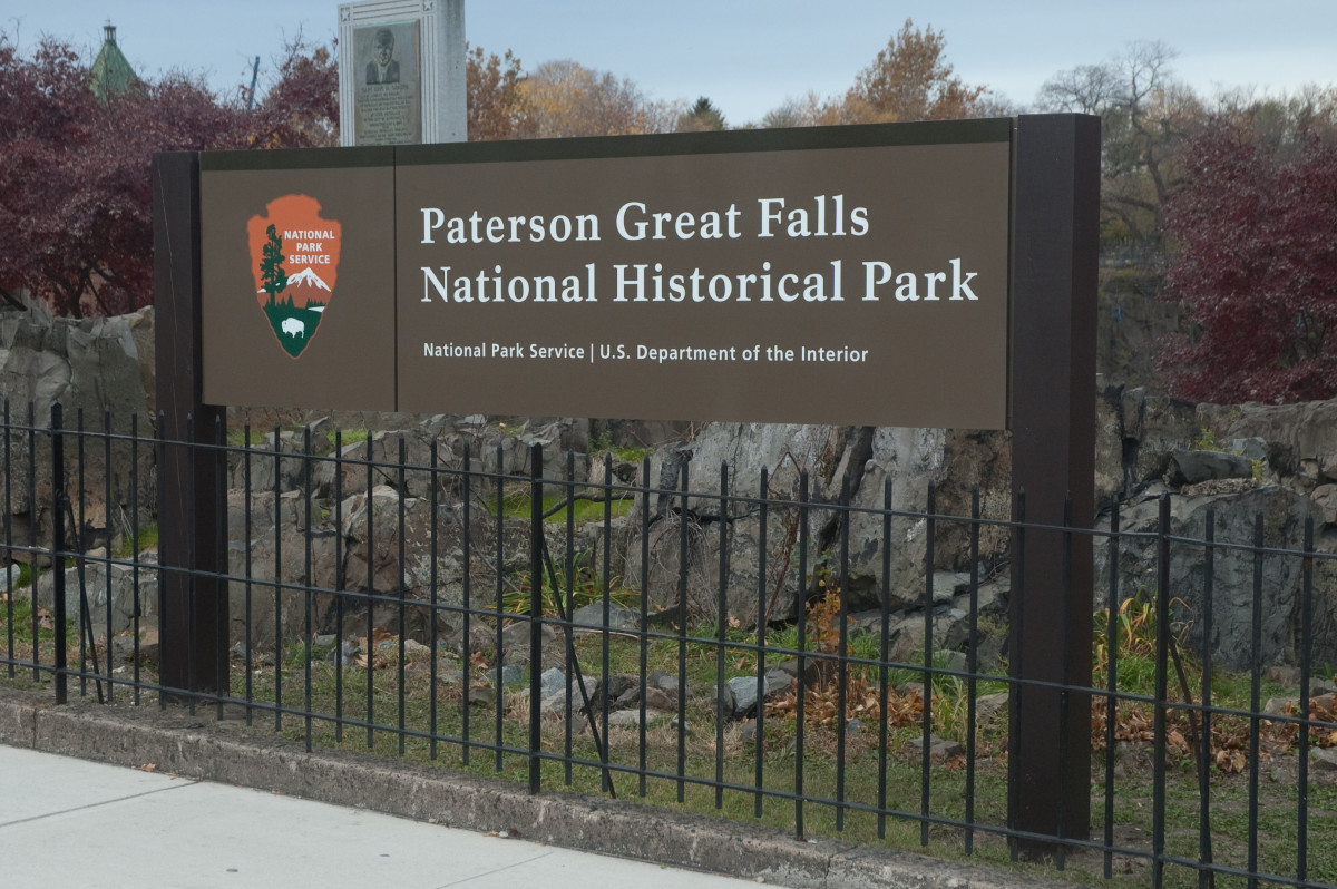 National Park Service sign for the Paterson Great Falls National Historical Park.