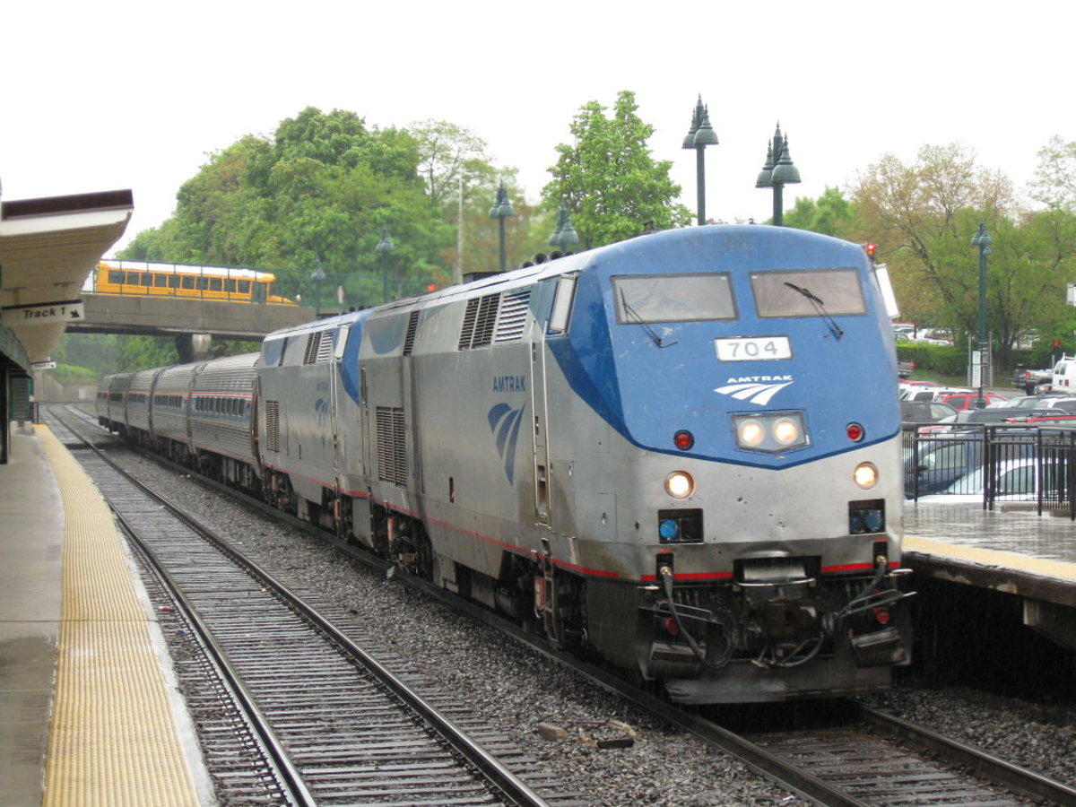 An Amtrak train pulls into a station in Poughkeepsie, New York, en route to Albany-Renssalaer in 2008.