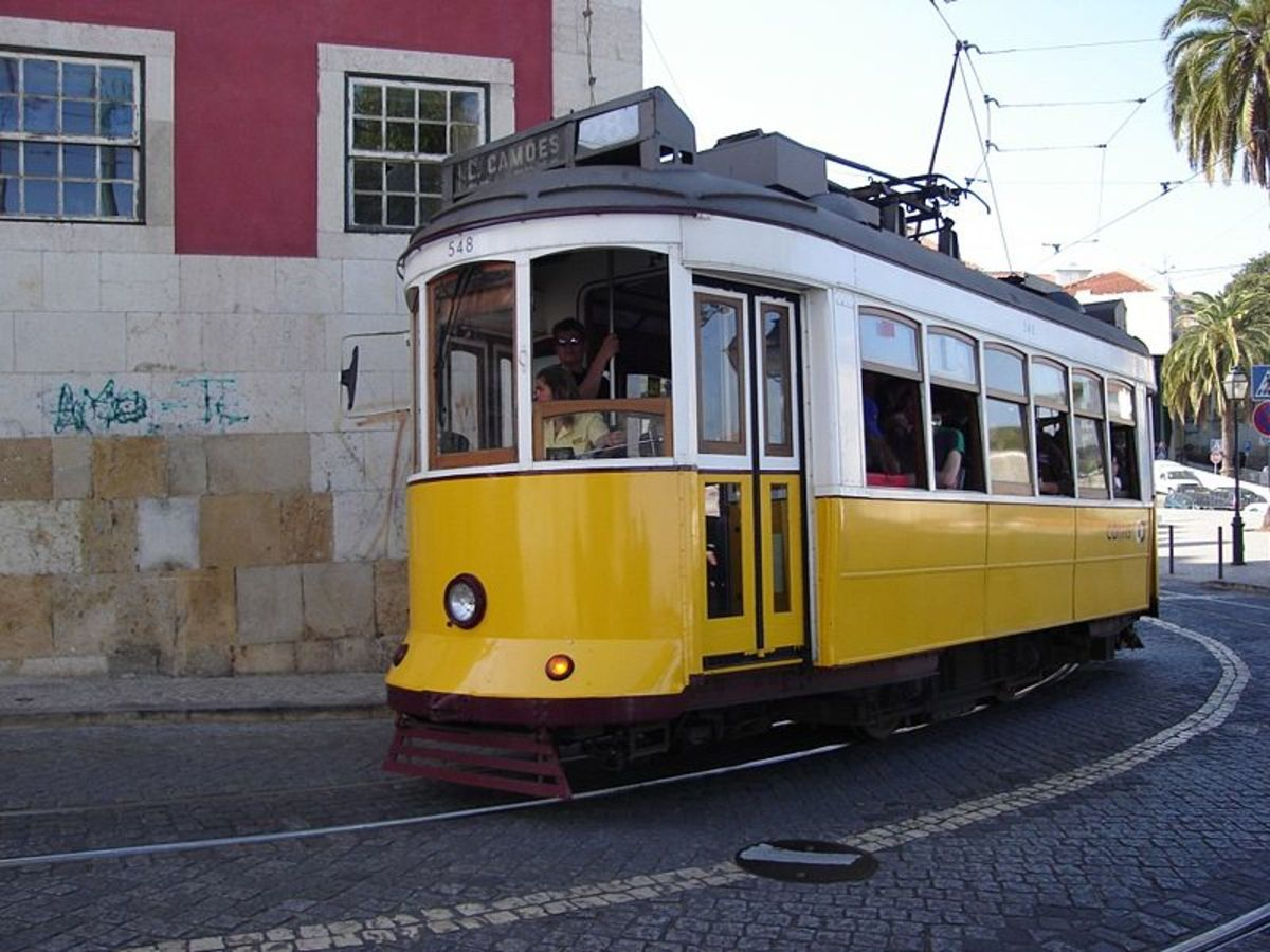Tram 28 cruising through Alfama