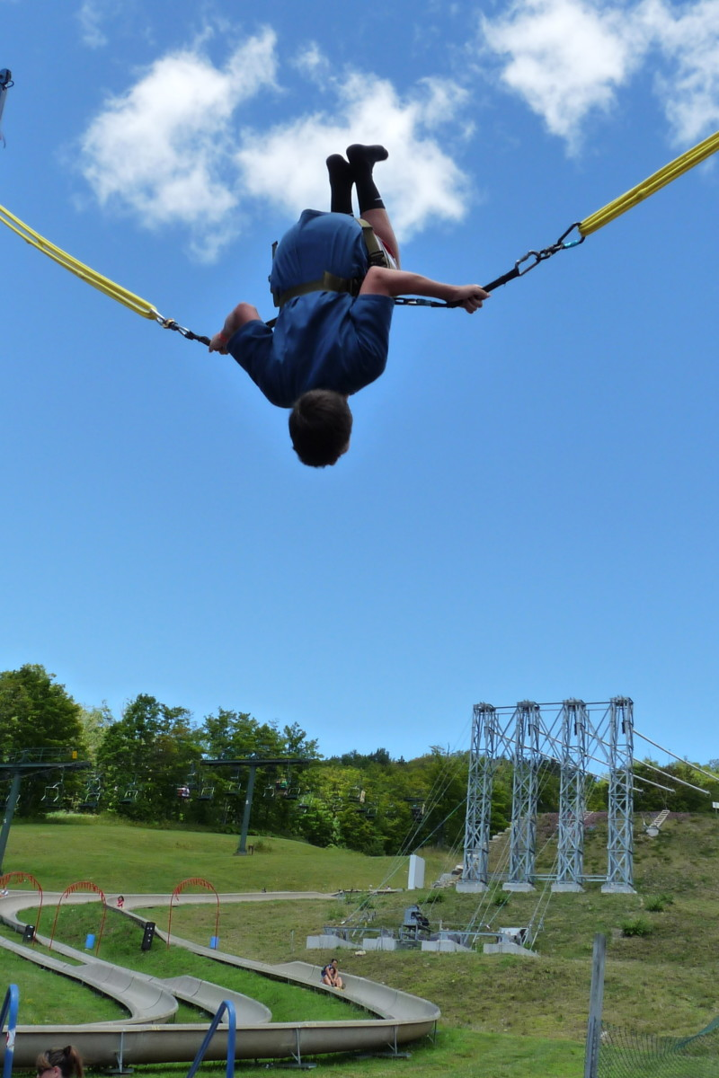 Flying high at Bromley Mountain with alpine slide and Sun Mountain Flyer in the background