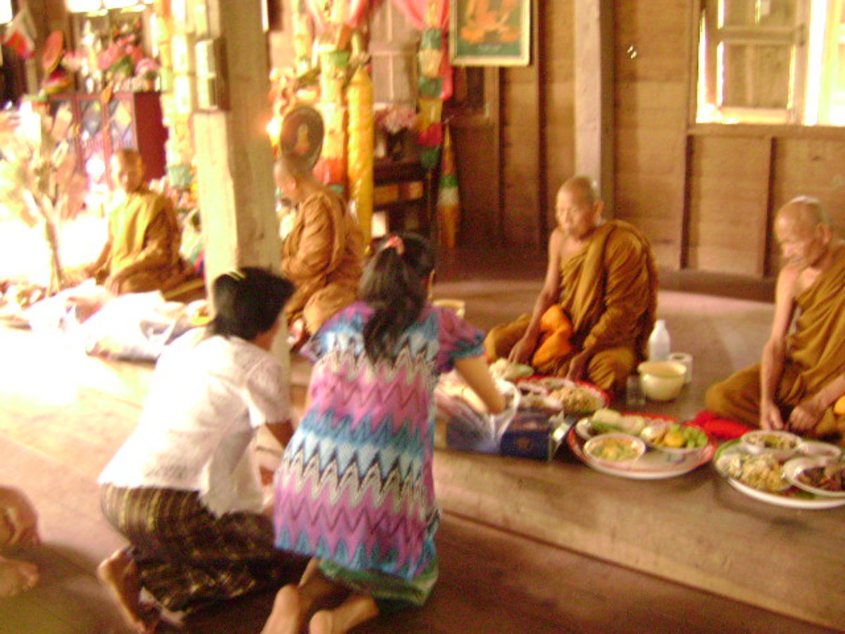 Making Merit to Monks at a Village Temple