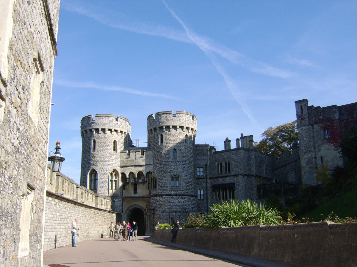 The Norman Gate is to the North of the Round Tower and leads to the Upper Ward of Windsor Castle