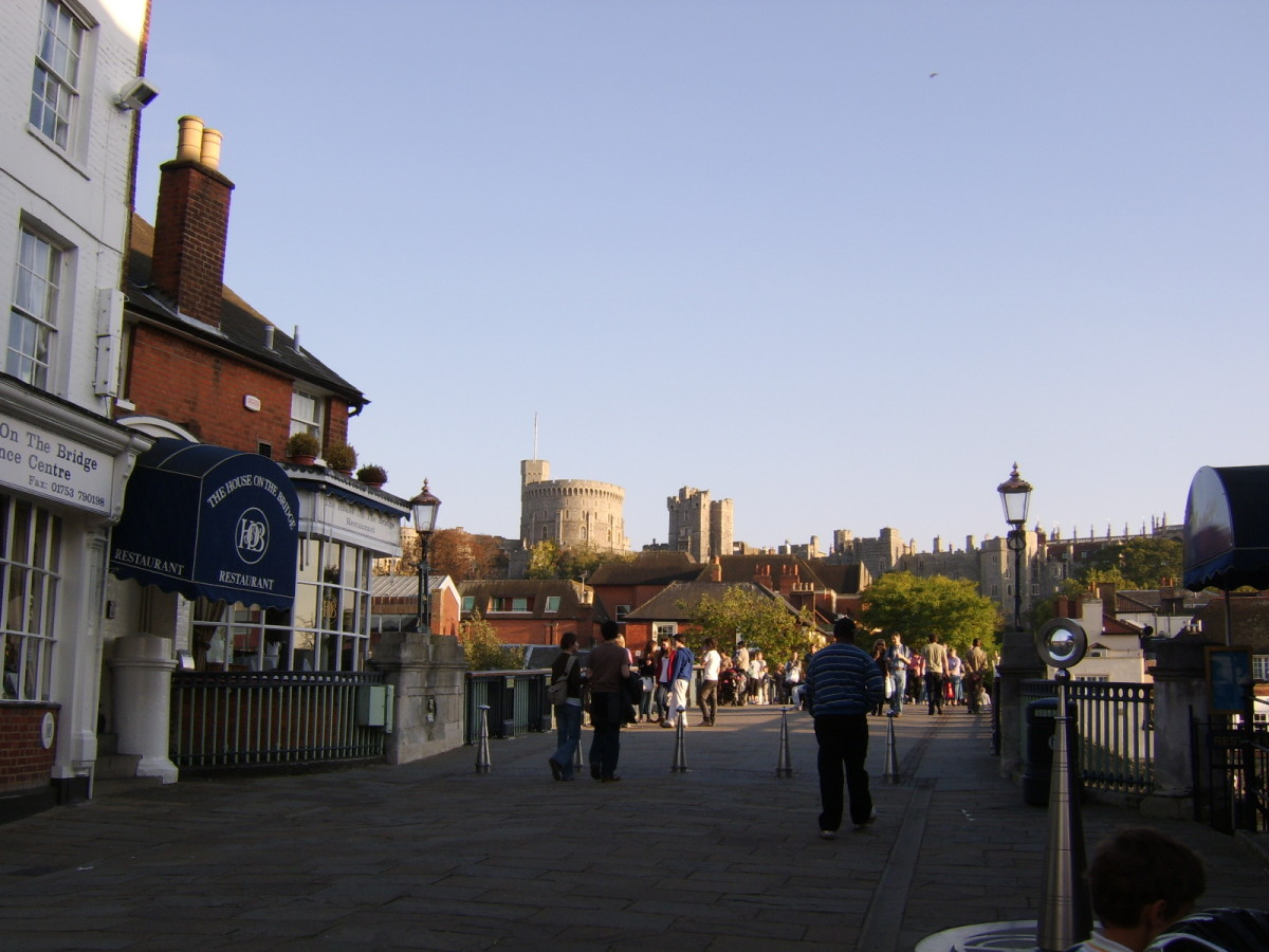 Windsor Castle viewed from outside the House on the Bridge Restaurant, on the Eton side of the River Thames