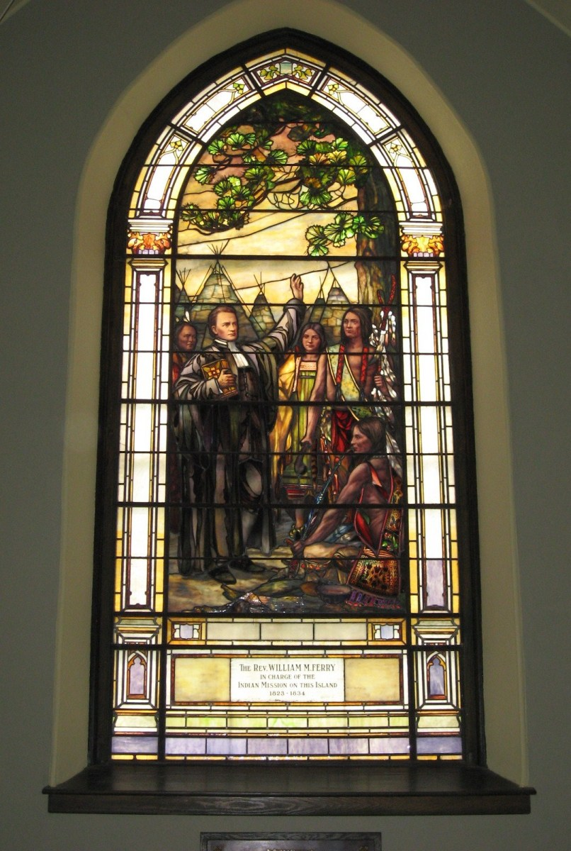 Stained glass window inside the Little Stone Church