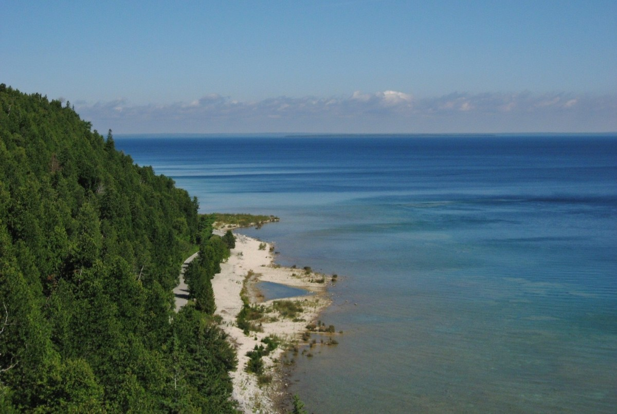Scenery of Mackinac Island as viewed from Arch Rock