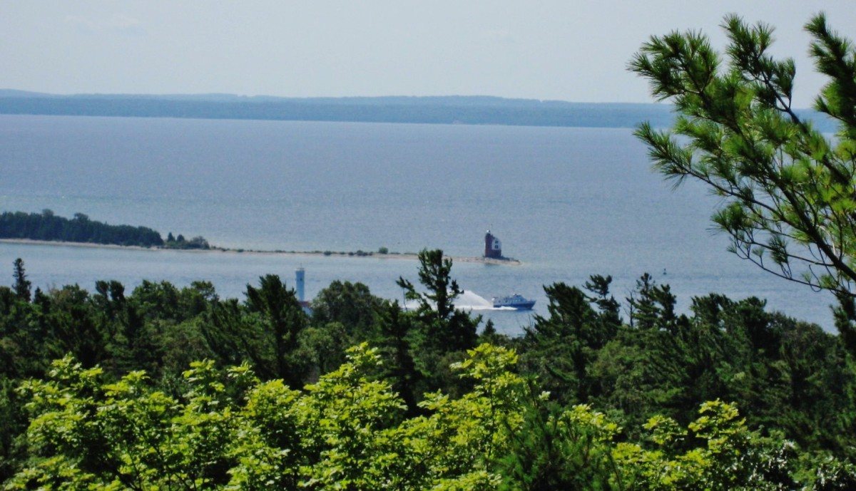 View of both Round Island Lighthouse & Round Island Channel Lighthouse (just above treeline).