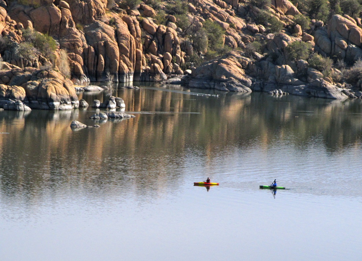 Kayakers on Watson Lake, Prscott, AZ