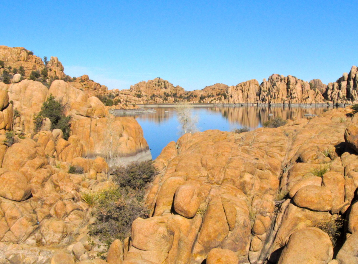 Peak-a-boo view to another section of Watson Lake, Prescott, AZ