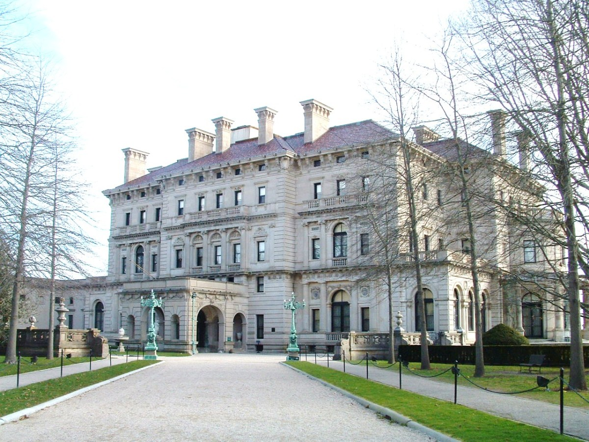 The Breakers' main or west entrance as seen after approaching through the wrought iron gateway shown in next photo.