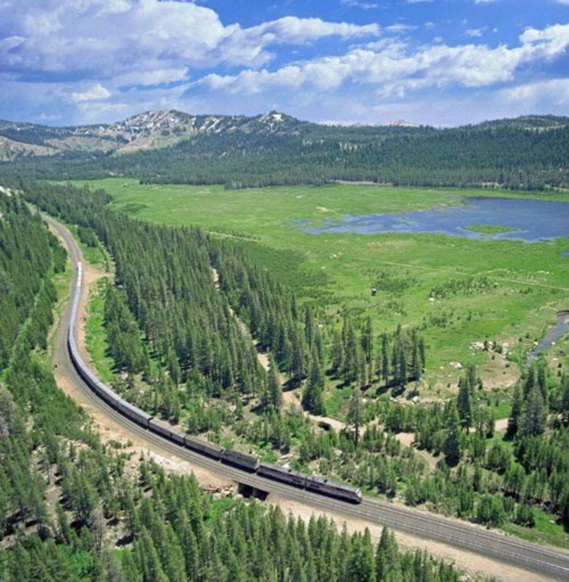 Amtrak's Empire Builder in Marias Pass, Montana.