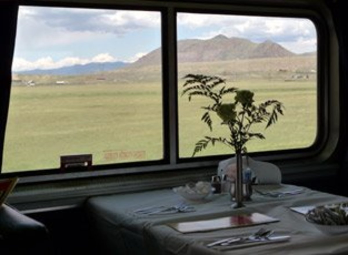 Scenic view in Colorado from California Zephyr dining car.