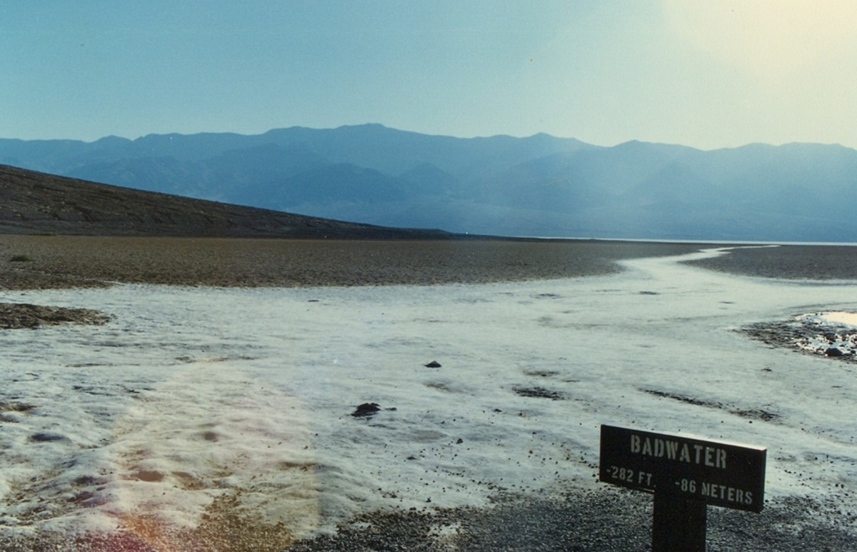 'Badwater', Death Valley, California. Telescope Peak is in the background (left).