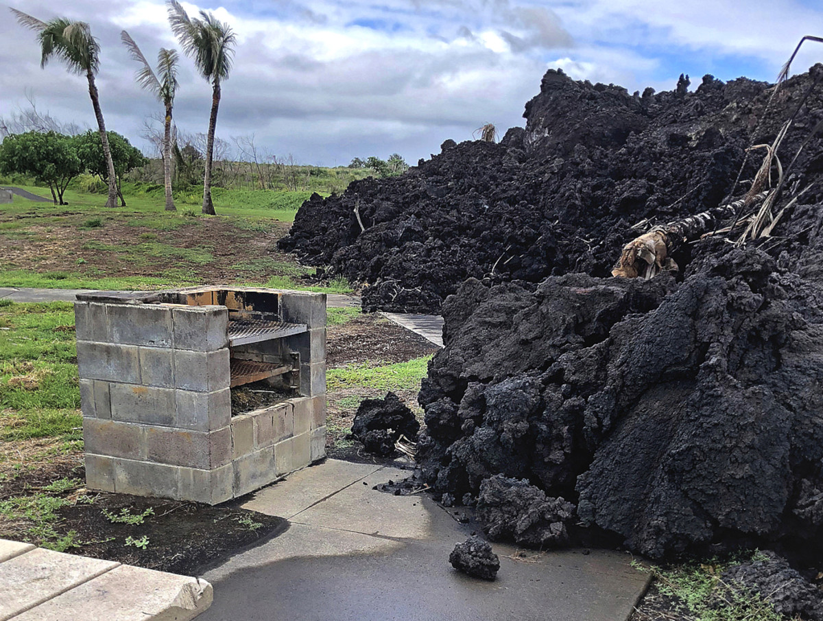 Lava stopped short from swallowing this BBQ pit!