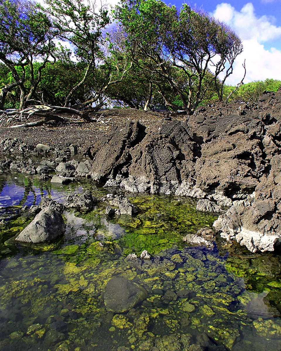 A thermal pond created by the lava flow.