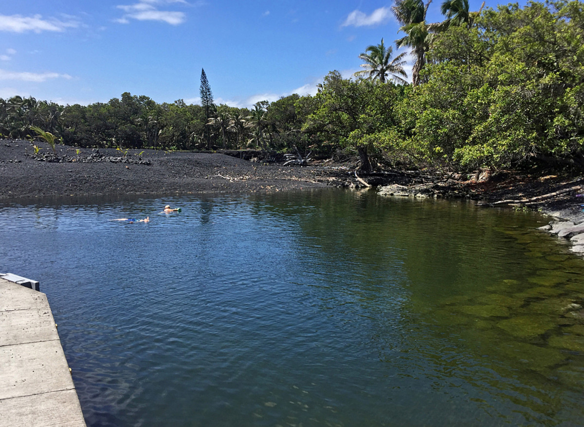 Swimming lagoon AFTER the eruption. Cut off from the ocean, the water becomes stagnant and turns green!
