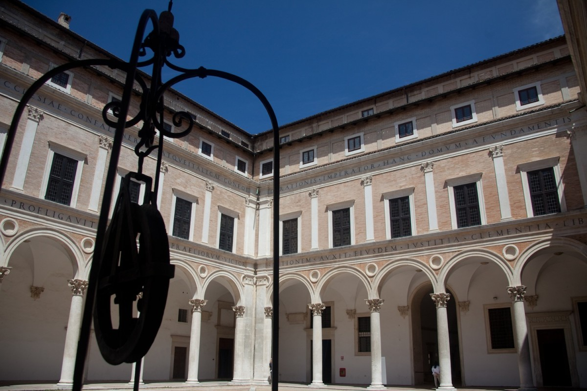 Courtyard at the Piazzale Ducale. Urbino, Italy.