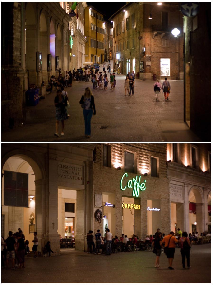 The Piazza della Republica by night.  Urbino, Italy.