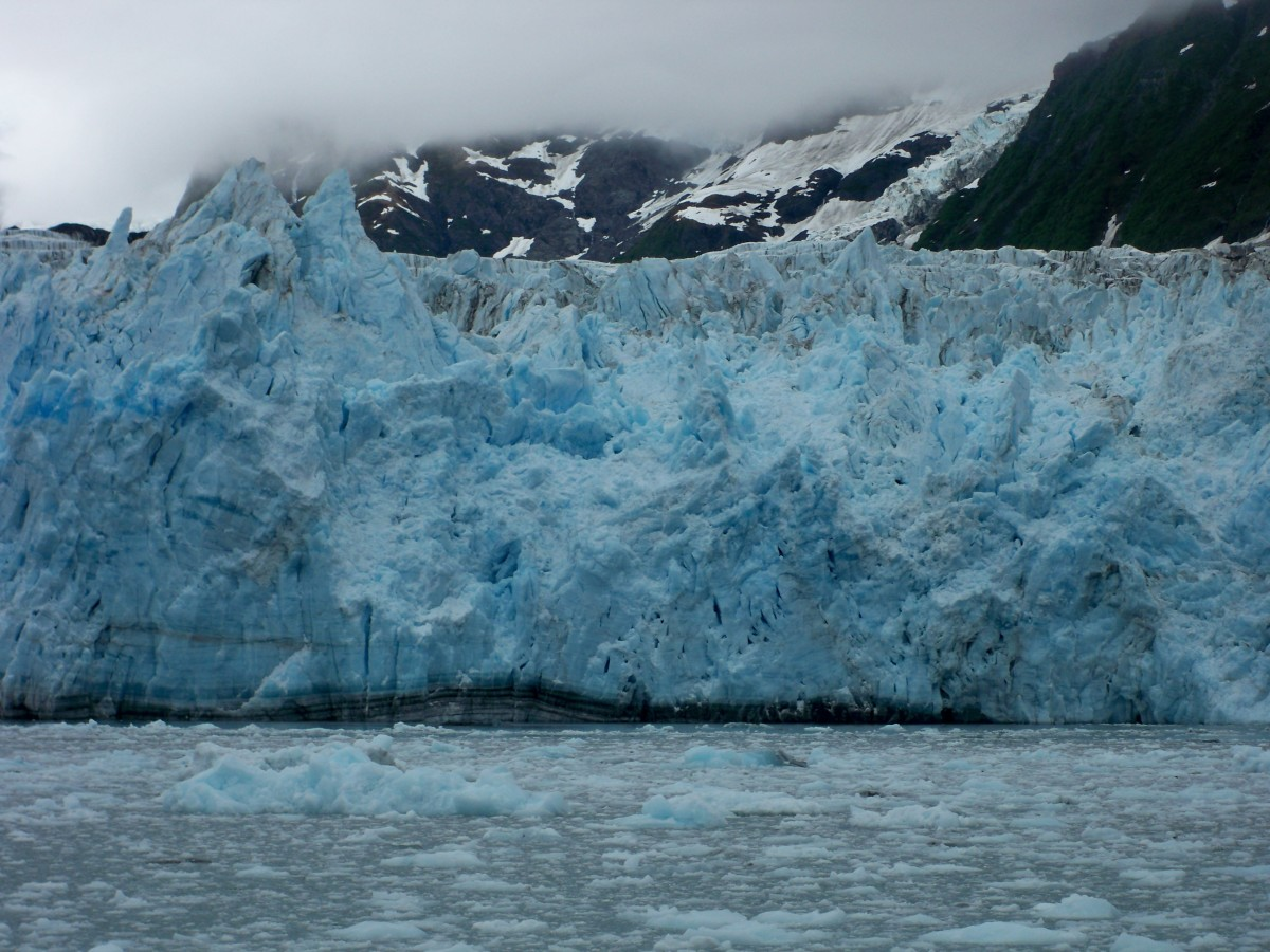 Suprise Glacier in Prince William's Sound, Alaska.  Gets it's name from the random calving of the glacier.  Fun-Fact: This area of Alaska is considered a rain forest, since it rains the majority of the time.