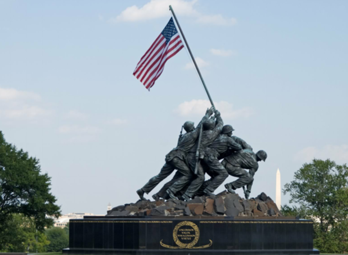 Iwo Jima Memorial with the Washington Monument in the Background.