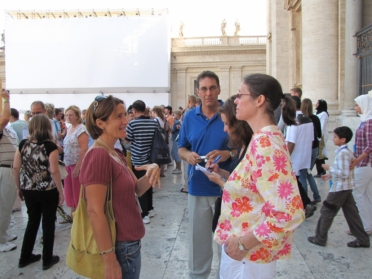 With our guide Sonia Tavoletta (L) outside St. Peter's Basilica