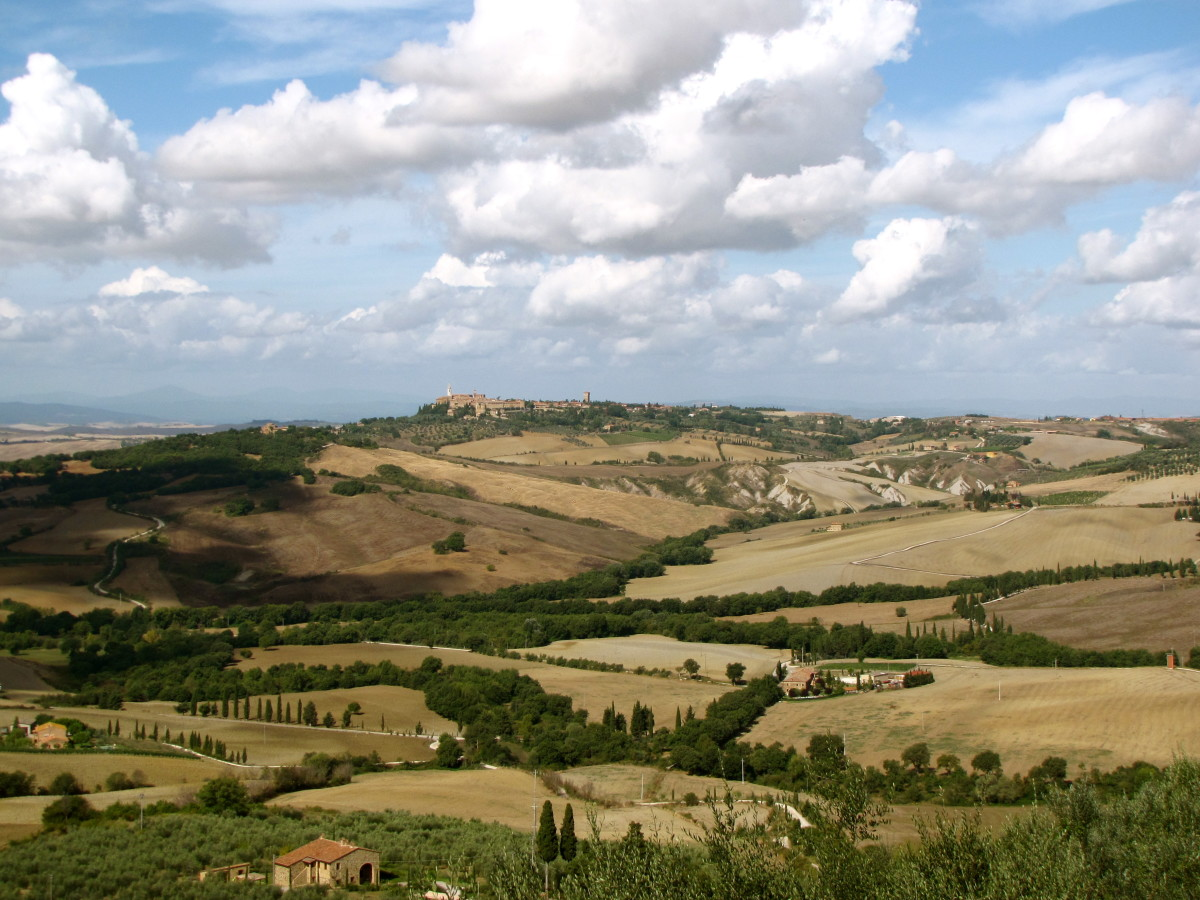 The view from the Porta Sant'Agata looking over the Val d' Orcia toward Pienza.